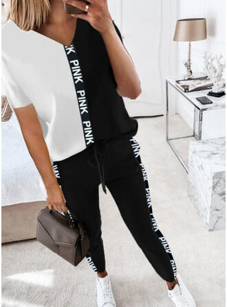 Patchwork Print Drawstring Casual Sporty Suits