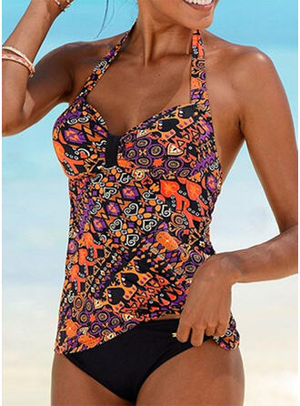 Colorful Print Halter Elegant Bohemian Tankinis Swimsuits