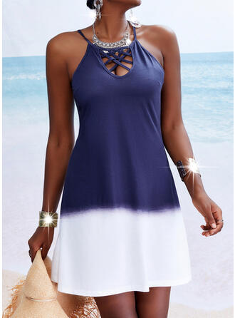 Gradient Sleeveless A-line Above Knee Casual/Vacation Skater Dresses