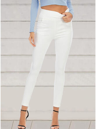Solid Shirred Plus Size Long Elegant Sexy Pants