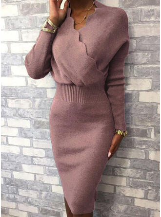 Solid Long Sleeves Bodycon Knee Length Casual/Elegant Sweater Dresses