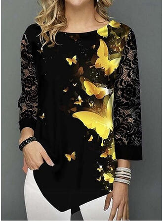 Print Animal Lace Round Neck 3/4 Sleeves Casual Blouses