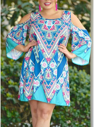 Plus Size Print Cold Shoulder Sleeve Long Sleeves Shift Above Knee Boho Casual Vacation Dress
