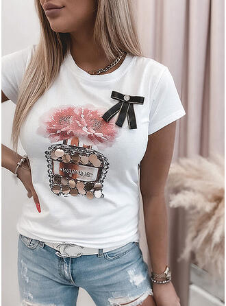 Floral Sequins Letter Round Neck Short Sleeves T-shirts