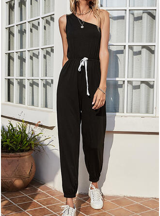 Solid Off the Shoulder Sleeveless Casual Jumpsuit