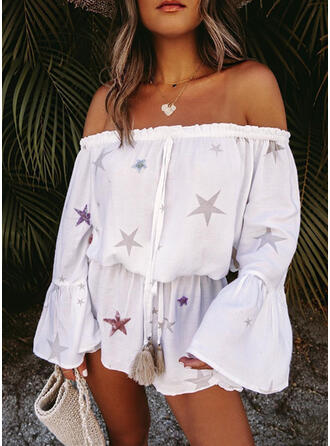 Star Off the Shoulder Long Sleeves Vacation Romper