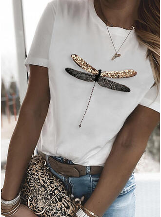 Animal Print Round Neck Short Sleeves T-shirts