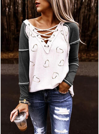 Print Heart V-Neck Long Sleeves Casual Knit Blouses