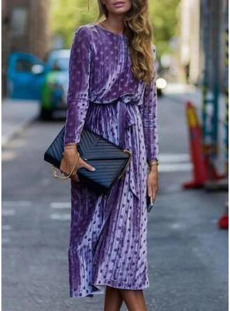 PolkaDot Long Sleeves Sheath Casual/Elegant Midi Dresses