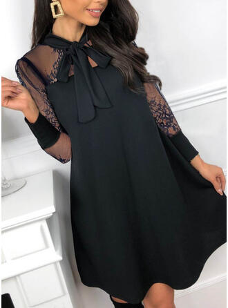 Lace/Solid Long Sleeves Shift Above Knee Little Black/Party/Elegant Dresses