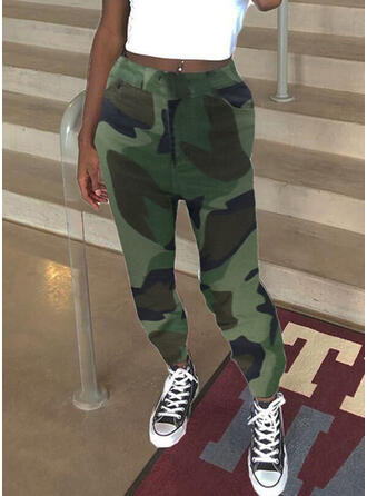 Shirred Camouflage Long Casual Sporty Pants