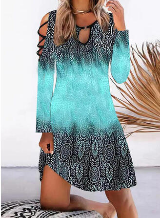 Print Long Sleeves Cold Shoulder Sleeve Shift Knee Length Casual/Vacation Tunic Dresses