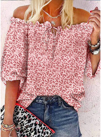 Print Lace-up Off the Shoulder 1/2 Sleeves Casual Blouses