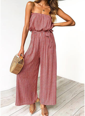 Striped Strapless Sleeveless Casual Vacation Jumpsuit