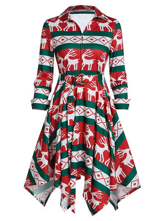 Lace/Animal Print Long Sleeves A-line Knee Length Christmas/Casual/Party Skater Dresses