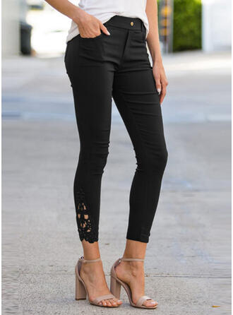 Solid Lace Patchwork Sexy Skinny Pants