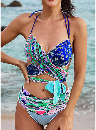 Floral Halter V-Neck Casual Vacation Bikinis Swimsuits