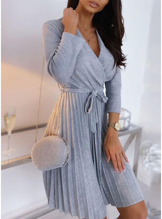 Solid Long Sleeves A-line Above Knee Casual/Elegant Skater Dresses