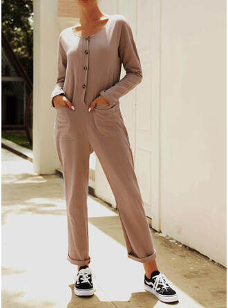 Solid V-Neck Long Sleeves Casual Vacation Jumpsuit