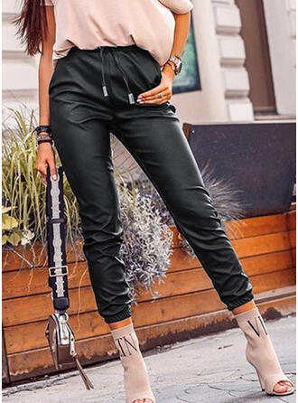 Shirred Plus Size Drawstring Long Casual Sexy Leather Pants