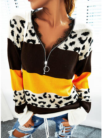 Color Block Leopard Lace V-Neck Casual Sweaters