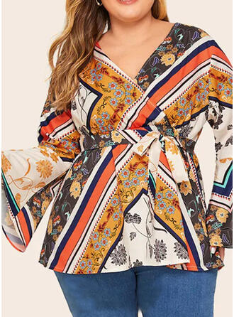Print V-Neck Flare Sleeve Long Sleeves Casual Plus Size Blouses