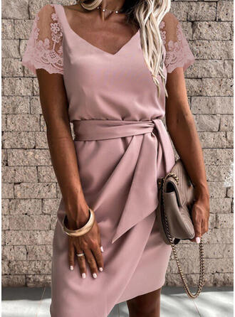 Lace/Solid Short Sleeves Bodycon Above Knee Party/Elegant Dresses
