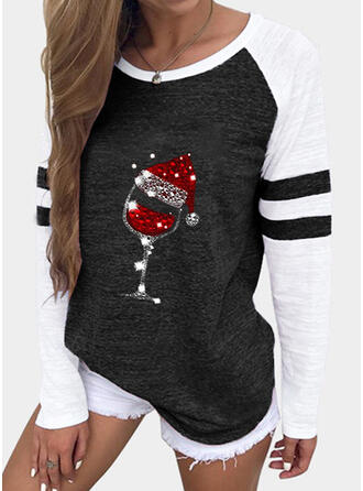 Print Color Block Sequins Round Neck Long Sleeves Casual Christmas T-shirts