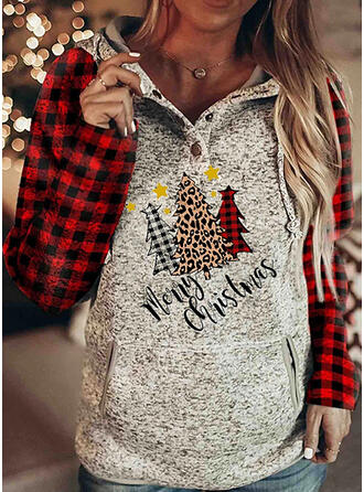 Color Block Grid Lapel Long Sleeves Christmas Sweatshirt