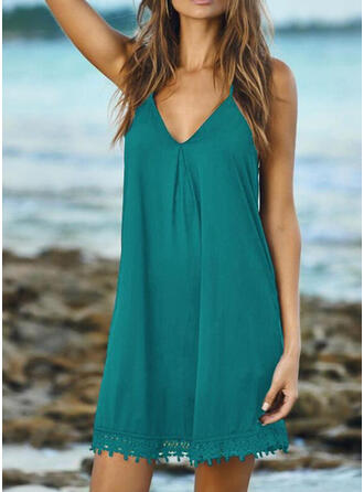 Solid Color Tassels Strap V-Neck Plus Size Casual Cover-ups Swimsuits