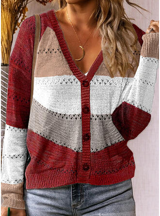 Color Block V-Neck Casual Cardigan