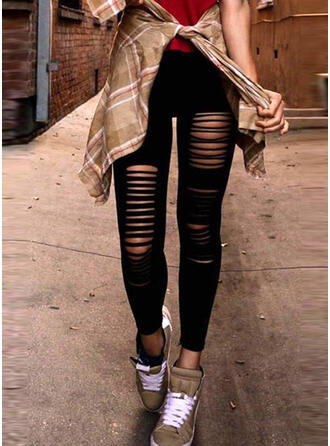Solid Ripped Skinny Vintage Pants