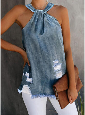 Solid Cotton Halter Sleeveless Casual Blouses
