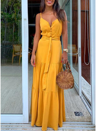 Solid Sleeveless A-line Slip/Skater Casual/Vacation Maxi Dresses
