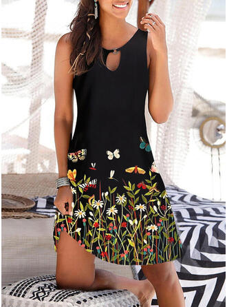 Floral/Animal Print Sleeveless Shift Knee Length Vacation Tank Dresses