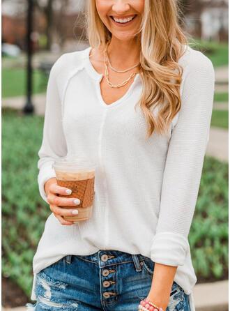 V-Neck Casual Knit Tops