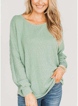 Solid Round Neck Long Sleeves Bat Sleeve Casual Blouses