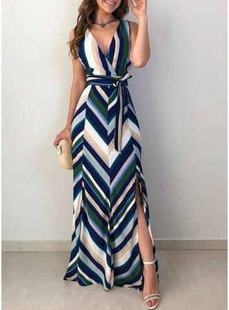 Striped Sleeveless A-line Wrap/Skater Sexy/Party Maxi Dresses