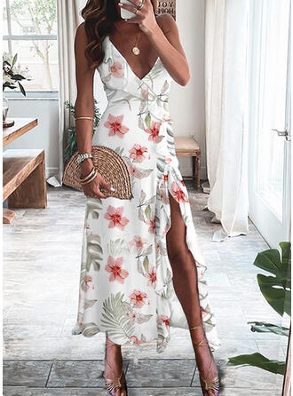Valentine's Day Floral Sleeveless Asymmetrical Wrap Party/Vacation Midi Dresses