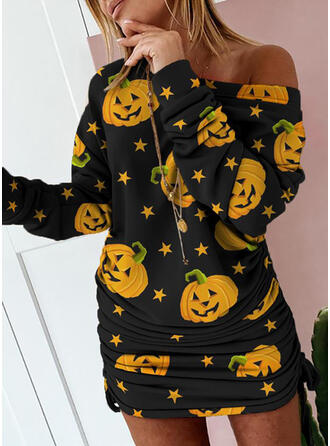 Print Long Sleeves Bodycon Above Knee Party/Halloween Dresses