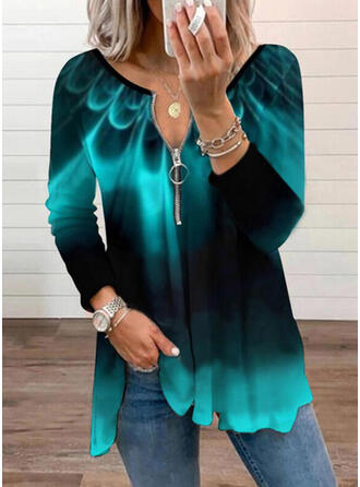 Print Gradient V-Neck Long Sleeves Casual Blouses