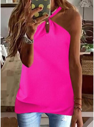 Solid Lace Halter Sleeveless Tank Tops