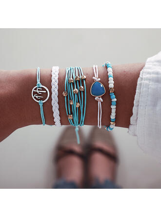 Colourful Boho Attractive Layered Alloy With Plastic Beads Bracelets 5 PCS