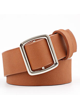 Square Buckle Alloy Leatherette Ladies' Unisex Girl's Wide Belt