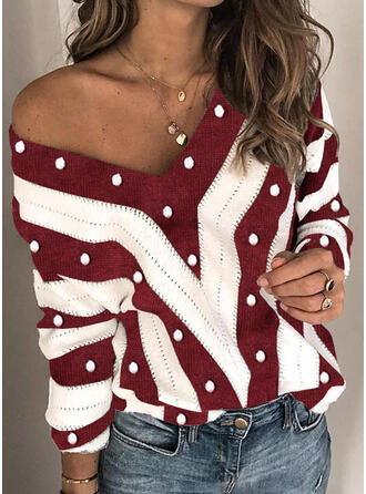 Color Block Christmas V-Neck Casual Christmas Sweaters