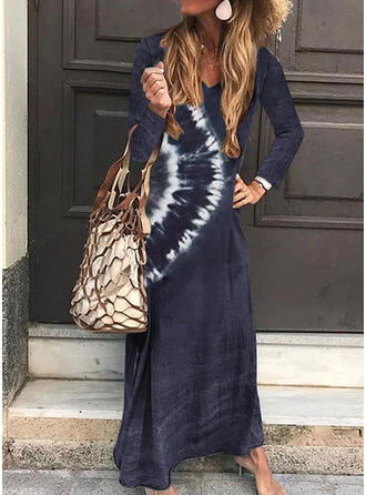 Tie Dye Long Sleeves Shift T-shirt Casual/Vacation Maxi Dresses