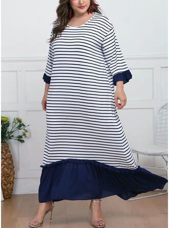 Plus Size Striped Long Sleeves Shift Maxi Casual Dress