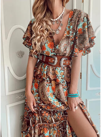Print/Floral 1/2 Sleeves/Flare Sleeves A-line Skater Vacation Midi Dresses