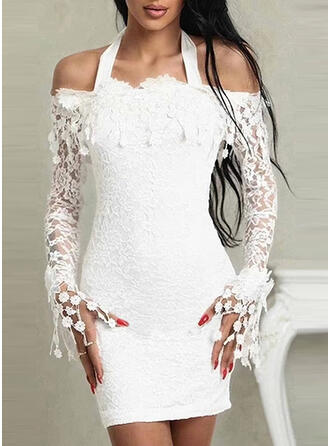 Lace/Solid Long Sleeves Bodycon Above Knee Party Dresses