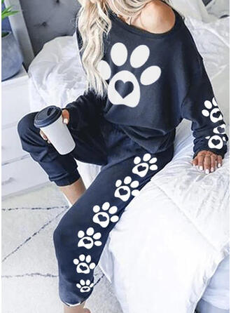 Animal Print Plus Size Casual Sporty Stretchy Suits